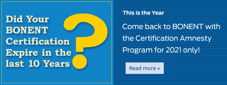 Come back to BONENT with the Certification Amnesty Program for 2021 only!